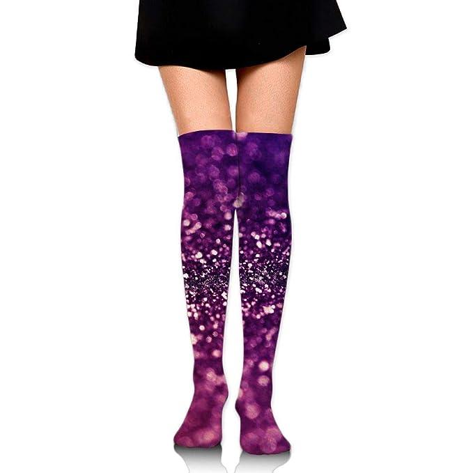 4c15ea01a9 Women Socks Thigh High Purple Glitter Long Tube Dress Legging Athletic  Compression Stocking