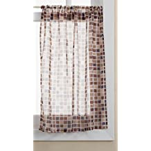 Lorraine Home Fashions Tiles Tier Curtain Pair, 54 by 24-Inch, Beige/Black