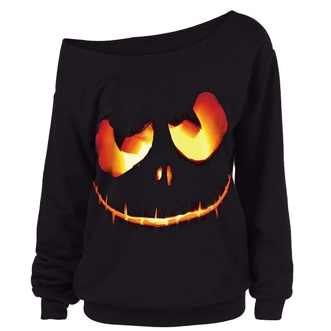 DOGZI Mujer Víspera de Todos los Santos Talla Grande impresión Diablo Calabaza Camisa de Entrenamiento Suéter Tops Blusa Pullover Halloween Camiseta: ...