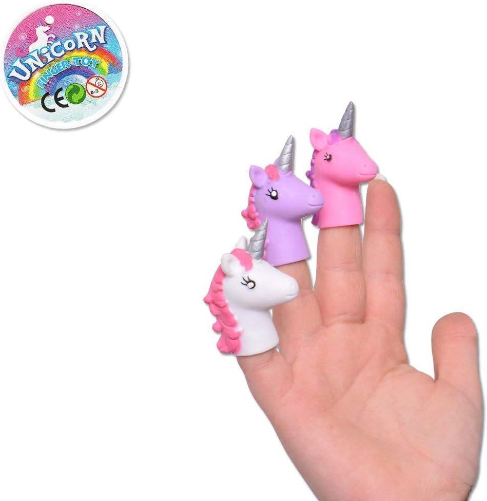 TE-Trend 9 Piezas Unicornio Unicorn Marioneta de Dedo Handspielzeug Set Blanco Rosa P/úrpura