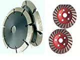 4-1/2'' Tuck Pointing Diamond Blade 1/4'' Thick & 3 Pieces Turbo grinding cup wheel Concrete Brick Block cement masonry stone Mortar work with grinder polisher wall chaser circular saw
