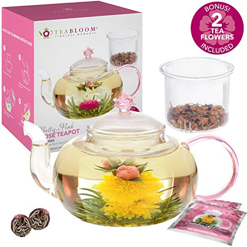 Teabloom Pretty in Pink Rose Teapot - 34 oz Borosilicate Glass Teapot, 2 Blooming Tea Flowers, Glass Tea Infuser - Thermal Shock Resistant - Stovetop, Microwave Safe