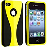 Snap-on Case Compatible with Apple iPhone 4 / 4S, Yellow / Black Cup Shape