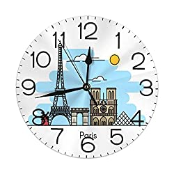 Dujiea Eiffel Tower Louvre Round Wall Clock Silent Non Ticking Battery Operated 9.5 Inch for Student Office School Home Decorative Clock Art