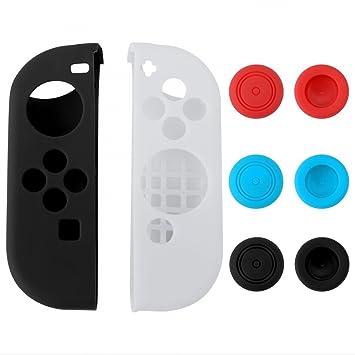 eXtremeRate® Funda Carcasa Antideslizante de Silicona con 3 Pares Thumbstick Tapas para Nintendo Switch Joy-con Negro Blanco