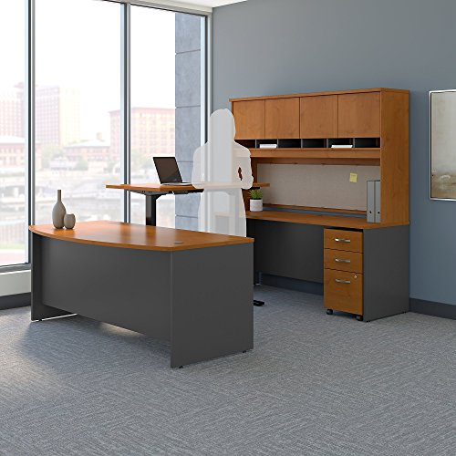 - Bush Business Furniture Series C 72W U Shaped Desk with Height Adjustable Bridge, Hutch and Storage in Natural Cherry