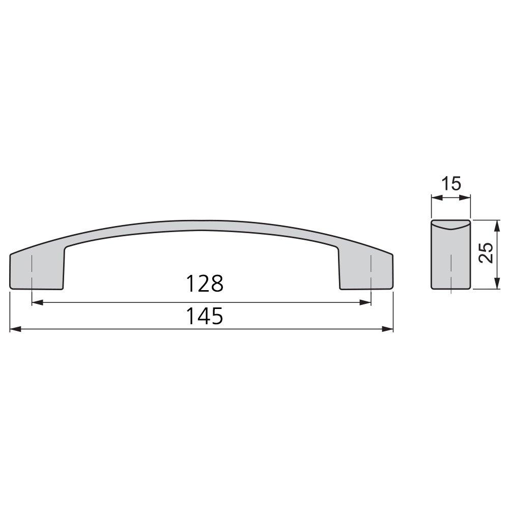 Emuca 9161825 Maniglia per mobile Zama Grigio metallizzato CC 128mm Set di 25