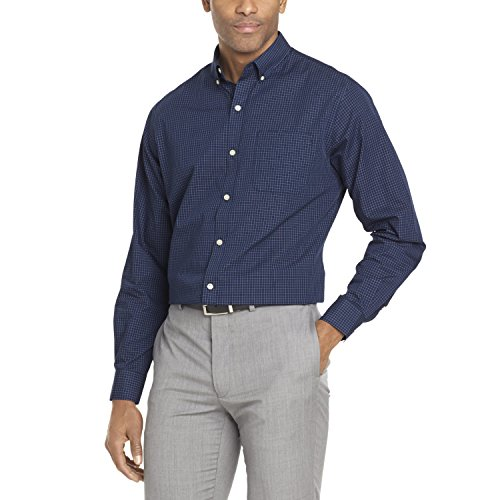 Van Heusen Men's Wrinkle Free Poplin Long Sleeve Button Down Shirt, Carbon Blue, Large