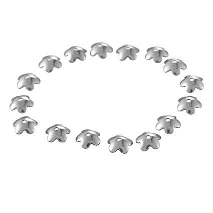 50pcs 3//4//5mm Silver Stainless Steel Round Bead Caps End Caps Crimp Beads