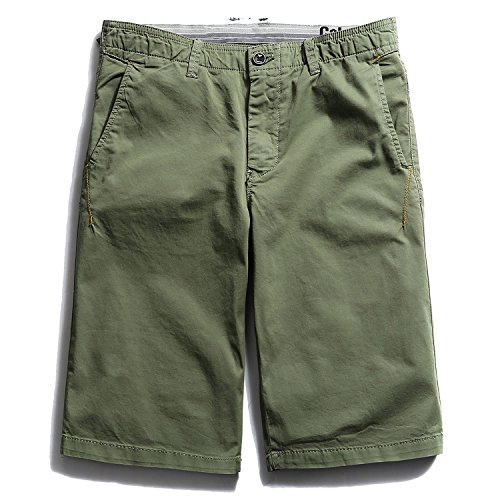 32t Thin - Mistere Summer New Solid Boys Casual Pants Korean Wave Men's Elastic Shorts Youth Thin Pants,Grass Green,36