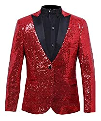 Men Sequin One Button Red L Jacket