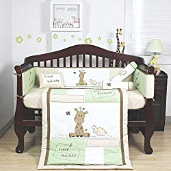 All 4 Kids 5 Pcs Beautiful Giraffe Design Baby Boy Girl Crib Cot Bedding Quilt Set