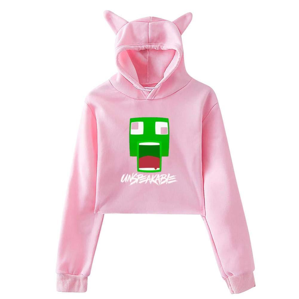 Women Un/_Speak/_Frog/_able Leak Navel Hoodies Pop Hoody Crop Top Cat Hooded Sweatshirt Blouse
