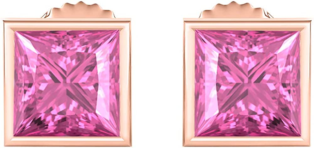 RUDRAFASHION Bezel Set Princess Cut Created Gemstones 9MM Solitaire Stud Earrings 14K Rose Gold Over Sterling Silver