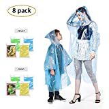Rain Poncho (8 Pack) - Disposable Extra Thick Lightweight Emergency Rain Ponchos Family Pack - Fits Women, Men, Adults, Kids - Perfect Disney, Theme Park, Hiking, Camping Gear