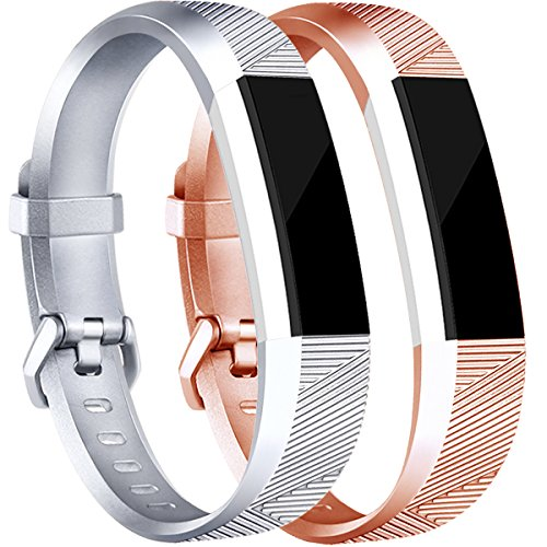 Tobfit Replacement Bands Compatible with Alta/Alta HR/Ace, Classic Replacement Bands with Secure Metal Buckle for Women Men Kids, Small, Rose Gold, Silver