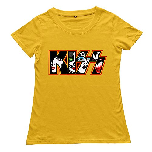 Goldfish Women's Fans Ring Spun Cotton KISS T-Shirt Yellow US Size S -