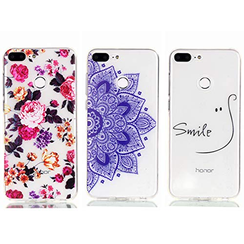 - Huawei Honor 10 Lite Case - 3 Pcs Shock-Absorption TPU Rubber Skin Bumper Case Transparent Crystal Clear Cute Colorful Print Patterns Ultra Slim Protective Cover by AIIYG DS - Floral