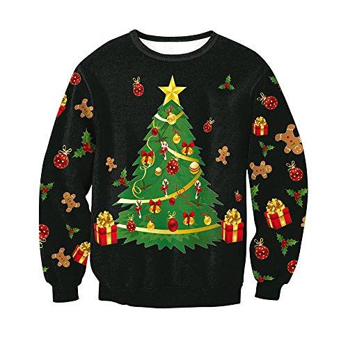 SEBOWEL Women Girls Ladies Ugly Christmas Tree Fun Cute Sweater Hoodie (Child Christmas Tree Hooded Sweatshirt)