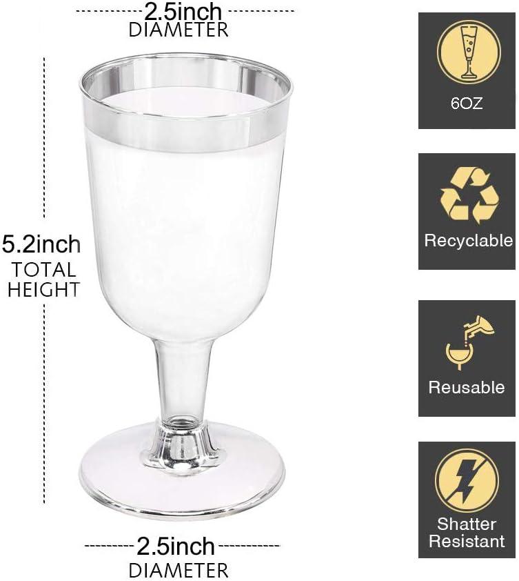 SET OF 6 Premium Reusable Glasses 100/% Dishwasher Safe Plastic Champagne Flutes