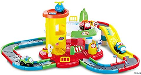 Memtes Parking Lot Garage Toy Playset, Electric Police, Fire, Taxi Car and Helicopter Included - Toy Parking Garage Elevator