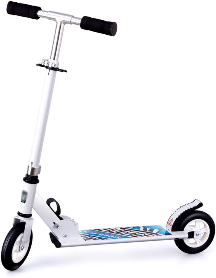 ー子供のスクータ キックスクーター子供スクーター3-14歳の大きな二輪フォールディングスクーター (Color : 白) 白