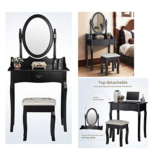 Dressing table Vanity Makeup Swing 360°Spinning Mirrors 1Drawers w/Stool Soft Cushion Pad Storage Jewelry Cosmetic Wood Desk Removable Mirror Turn to Working Desk Black Home Decor Interior Space