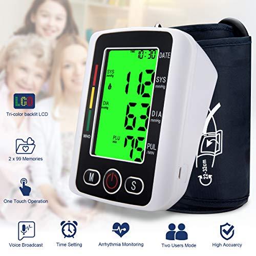 Blood Pressure Monitor,Digital BP Cuff Blood Pressure Cuff Voice Broadcast Automatic Large Backlight Display Upper Arm Blood Pressure Monitor Pulse Rate Monitoring Meter BP Machine,2 * 99 Memory Mode