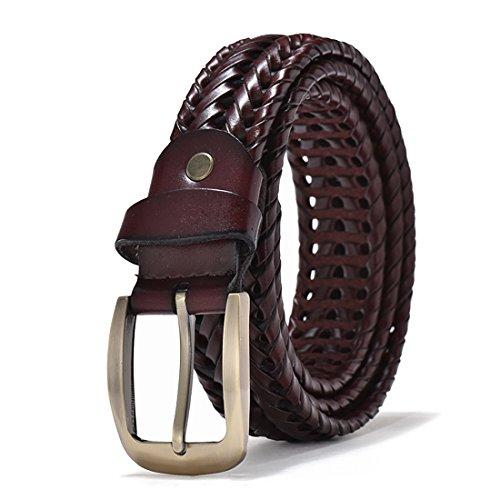 Handmade Woven Belt - ECHAIN Men Braided Woven Genuine Leather Belt