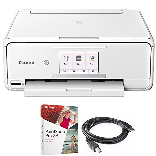Canon PIXMA TS8120 Wireless Inkjet All-in-One Printer with Scanner & Copier White (2230C022) Corel Paint Shop Pro X9 Digital Download & High Speed 6-foot USB Printer Cable by Canon