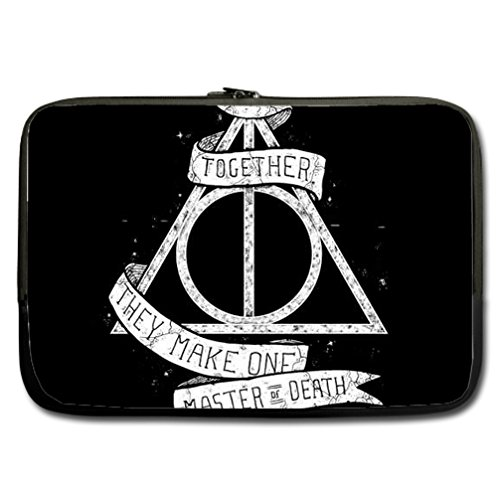 INSTALL AND EASY TO CARRY Wear& Slim &Dapper Harry Potter Deathly Hallows Custom Neoprene Sleeve for Laptop 15.6 Inches(Twin sides)