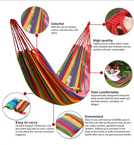 HAMMOCK-HAMMOCK LOUNGE-HANGING HAMMOCK-THE COMFIEST, DOUBLE COZY, BRAZILIAN NEST HAMMOCK-INCLUDES TREE STRAPS-FOR INDOOR, OUTDOOR, TRAVEL, CAMPING AND MORE-DURABLE SOFT COTTON-INCLUDES STORAGE BAG by Mimi's Gardenz