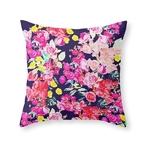 Roses Garden Summer Bright Antique Floral Print With Hot Pink, Yellow, And Navy V2 20