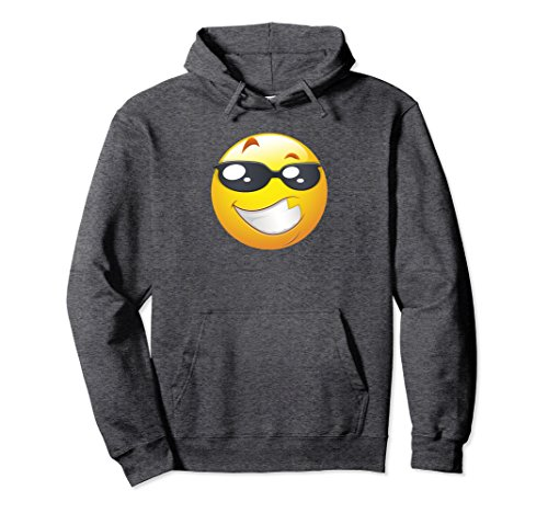 Unisex Cool Smiley Face With Shades Hoodie for Men and Women Large Dark - Smiley Face With Shades