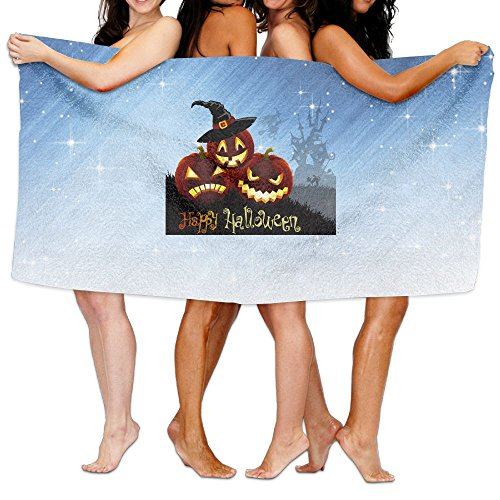 - Buecoutes Bath Towel Halloween Pumpkin Lights Personalize Lightweight Large Swim Beach Towels