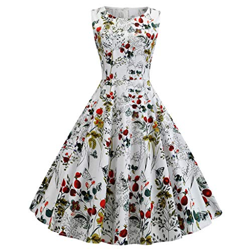 jin&Co Summer Vintage Swing Dress for Women Retro O-Neck Printed Ladies Elegant Party Prom Dresses Cocktail Dress (Best Hairstyles For Evening Party)