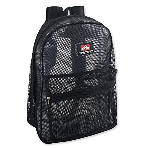 Classic Mesh Backpack with Reinforced Padded Straps & Zippered Front Accessory Pocket (Black)
