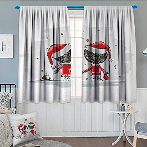 Christmas Patterned Drape For Glass Door Soul Mates Love With Santa Costume Family Romance in Winter Night Picture Print Waterproof Window Curtain 55
