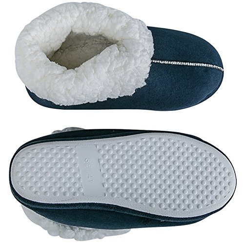 Winter Slippers Shoes Womens TRUPO Indoor On Slip House Wool Mens Blue Foam Lined Warm Plush Fleece Memory q8UEpZR