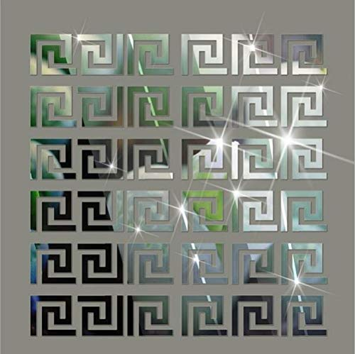 Himerus Mirror Wall Stickers Vintage Greek Key Geometric Pattern Removable Wall Decals -