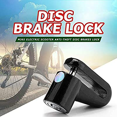 Black Disc Brake Lock for Electric Scooter Anti-theft Motorcycle Alarm Disc Lock,Anti-Theft Padlock Wheel Security Lock 6mm Pin with 5 ft Reminder Cable Snackle fit for Xiaomi Mijia M365