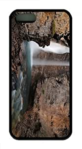awesome covers river rocks waterfall TPU Black Case for iphon 5/5S