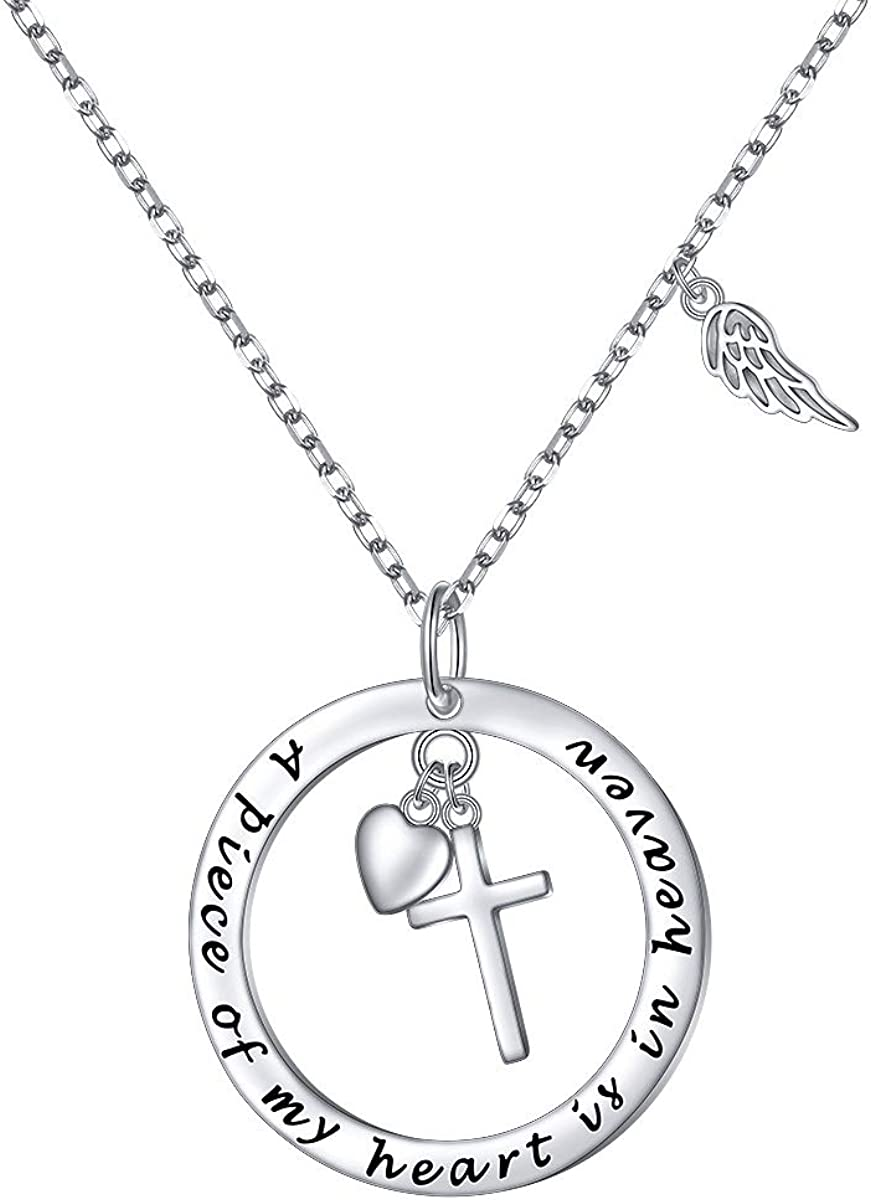 Flyow 925 Sterling Silver Memorial Necklace A Piece of My Heart is in Heaven Pendant Jewelry in Memory of Mom Dad Grandma Grandpa Baby Loss Memorial Gift
