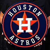 Houston Astros Lasercut Steel Logo Sign Wall Sign 21 x 21in