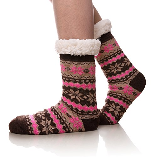 Women's Warm Fleece-Lined Cozy Thick Winter Knee Highs Slipper Socks-Christmas Stockings (Brown & Pink) (Plus Stockings Lined Size)