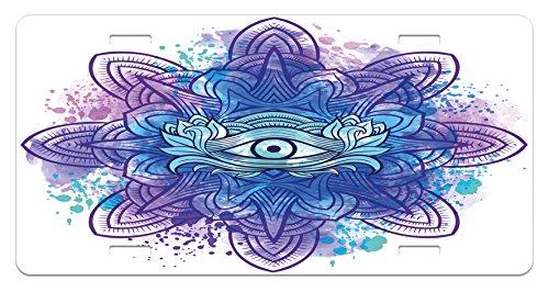 Ambesonne Eye License Plate, Third Eye with Hand Drawn Mandala Vivid Colors Aura Inner Peace Awareness Chakra, High Gloss Aluminum Novelty Plate, 5.88