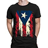 SpiritForged Apparel Vintage Distressed Puerto Rico Flag Men's T-Shirt, Black Medium