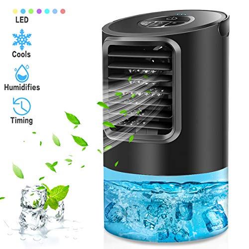 Portable Air Conditioner Fan, Mikikin Personal Space Air Conditioner Desk Fan Mini Evaporative Air Cooler Quiet Humidifier Cooling Fan with Handle, 7 Colors LED Lights, 3 Speeds for Home, Office, Room (Fan Table Cooler)