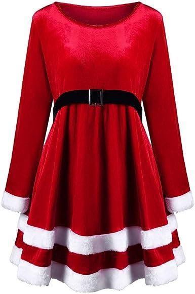Bazhahei Robe De Noel Femmes Femme Joyeux Noel Velvet Robe Rouge Col Rond A Manches Longues Robe Costume Du Pere Noel Amazon Fr Vetements Et Accessoires