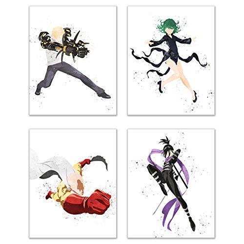 (Watercolor One Punch Man Poster Prints - Set of 4 (8x10) Glossy Shonen Anime Manga Wall Art Decor - Saitama - Genos - Sonic - Tatsumaki)